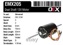 Blower Motor 12v Dual 8mm Shaft 3 Speed Heater AC Blower Fan Motor Universal