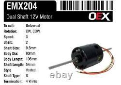 12v Ventilateur Moteur Double 9.5mm Arbre 3 Vitesse Universelle De Chauffage Moteur Soufflant Ac